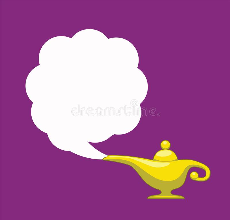 Vector genie magic aladdin lamp with white smoke stock illustration