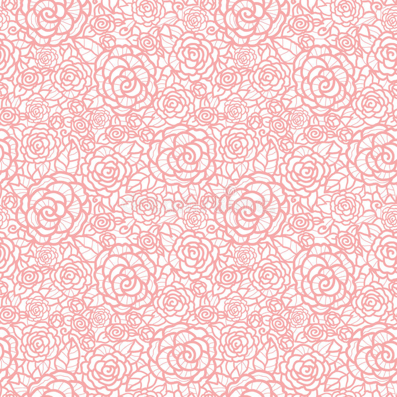 Vector gentle pastel pink lace roses seamless repeat pattern background. Great for wedding or bridal shower decor vector illustration