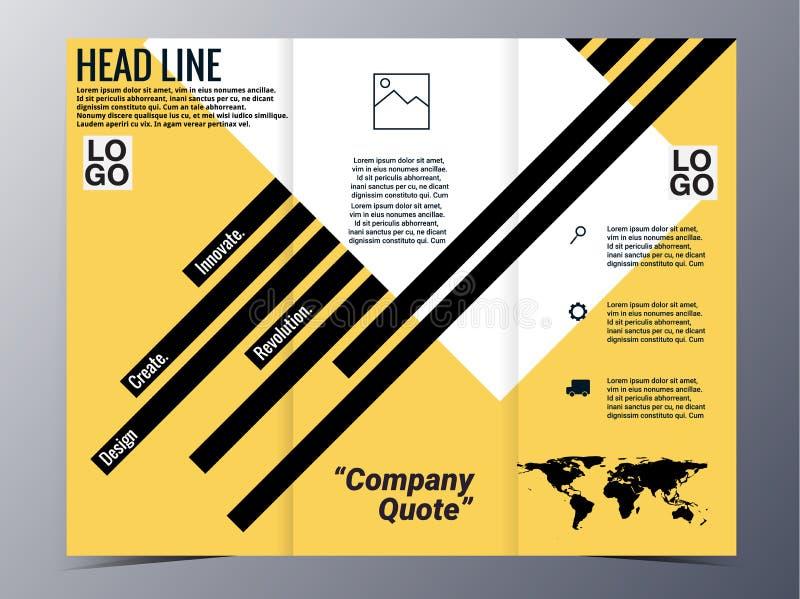 Vector geométrico amarillo abstracto de la plantilla del diseño del folleto del modelo stock de ilustración