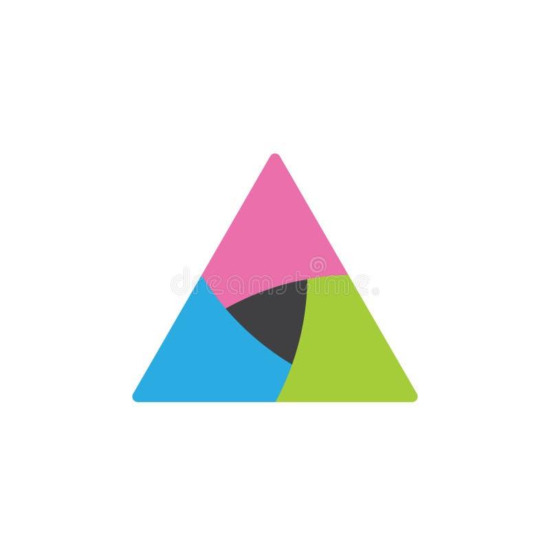 Vector geométrico del logotipo de las curvas coloridas del triángulo stock de ilustración