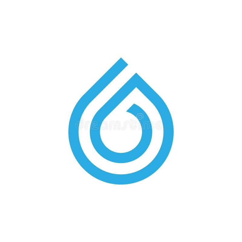 Vector geométrico del símbolo del agua del descenso del número 6 stock de ilustración