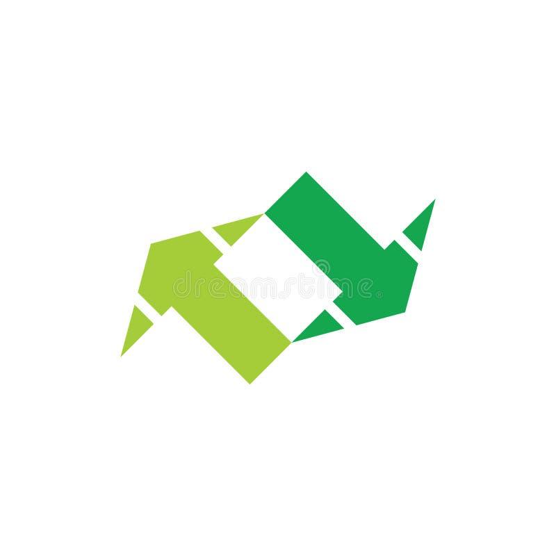 Vector geométrico del símbolo de la flecha opuesta simple dos stock de ilustración