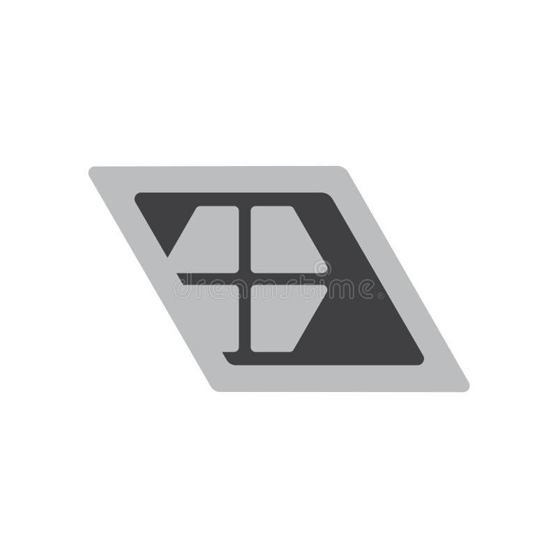 Vector geométrico simple del logotipo de la forma del trapecio de la ventana stock de ilustración