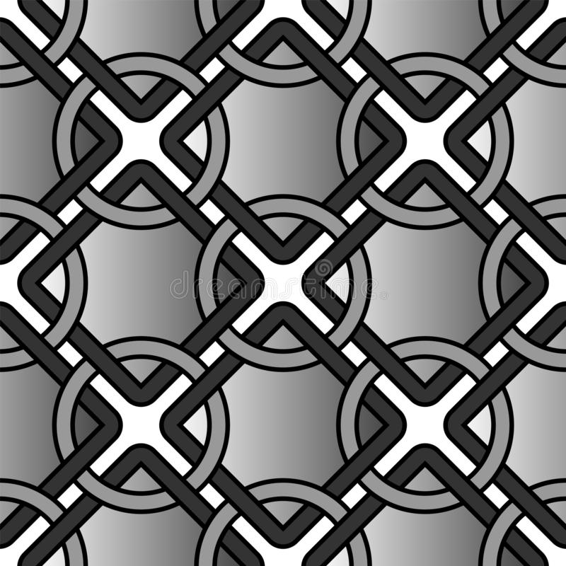 Vector geometric background with rings and square grid tiles seamless pattern vector illustration