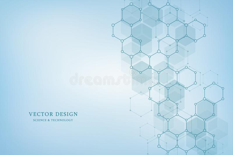 Vector geometric background from hexagons. Abstract molecular structure and chemical elements. Medical, science and royalty free illustration