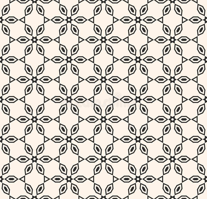 Vector geometric black and white seamless pattern. Linear floral shapes, woodcarving. stock illustration