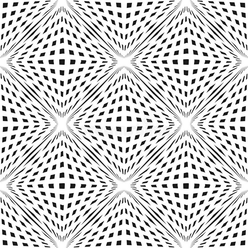 Vector geometric checkered seamless pattern with cubic shapes. 3D volume optical illusion effect. Vector geometric checkered pattern. Black & white seamless royalty free illustration