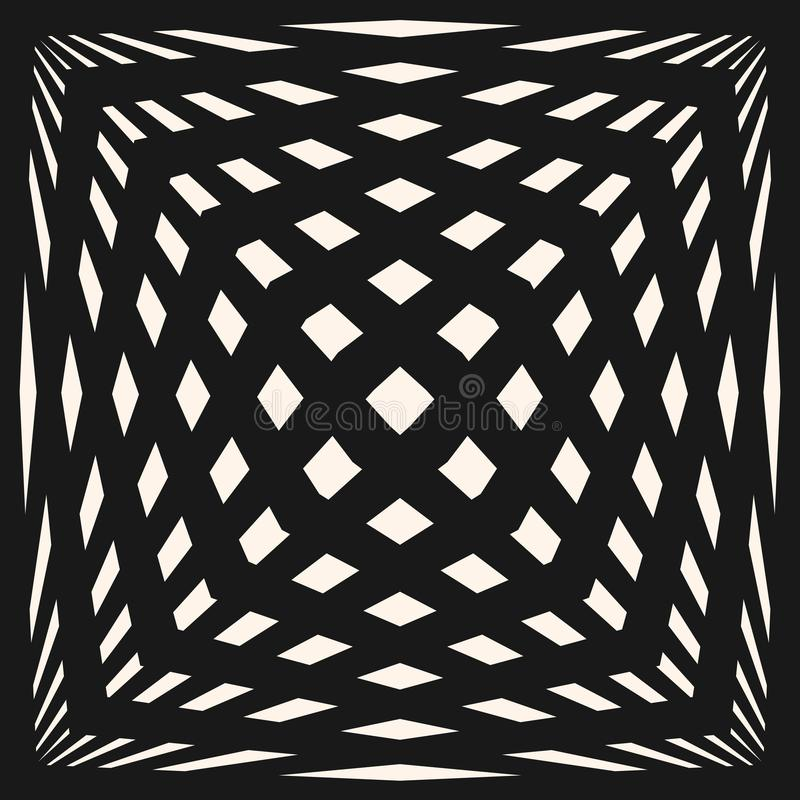 Vector geometric checkered pattern. Seamless texture with stretched cubic shapes. Vector geometric checkered pattern. Black & white seamless texture with vector illustration