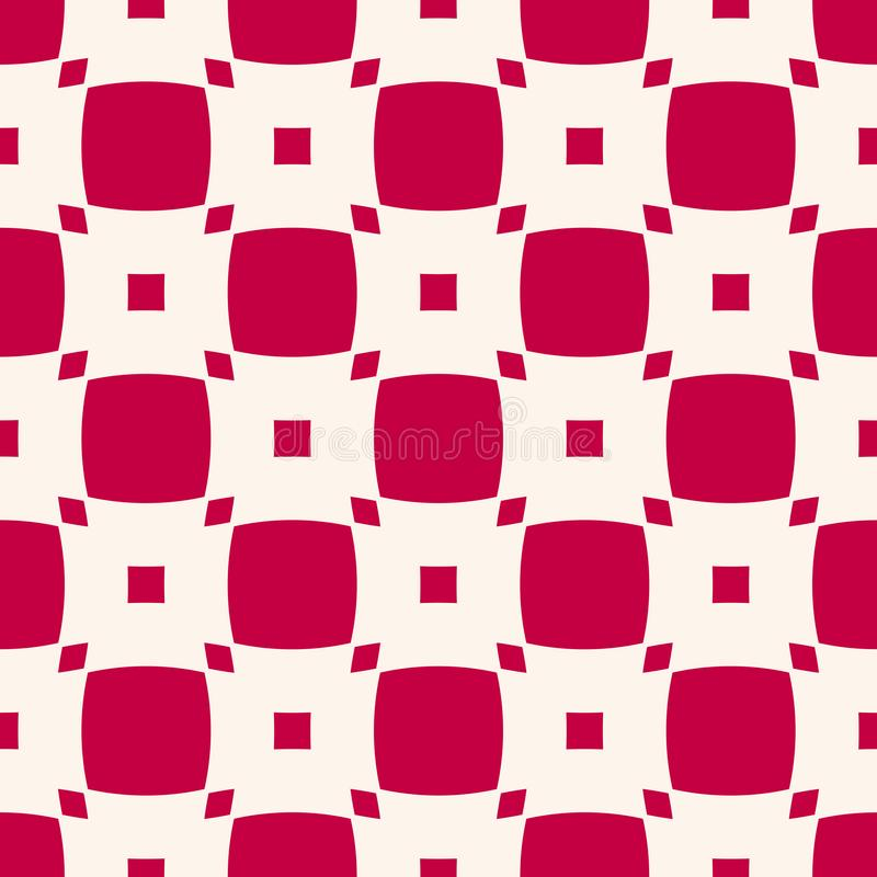 Vector geometric checkered seamless pattern. Red and white squares texture royalty free illustration