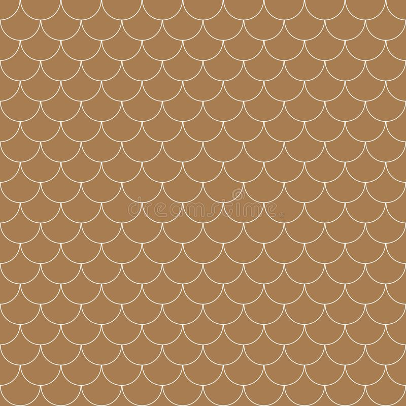 Vector geometric fish scales chinese seamless pattern. Wavy roof tile background stock illustration
