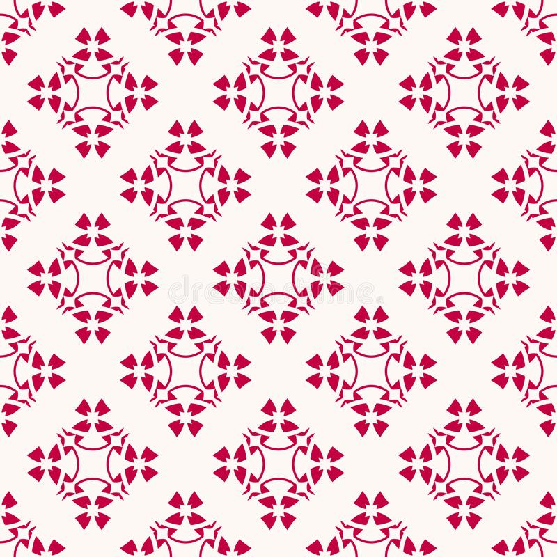 Vector geometric floral pattern. Elegant abstract red and white seamless texture vector illustration