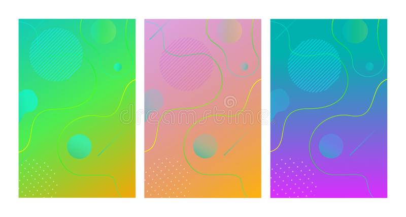 Vector geometric fluid shapes, wavy, dynamic, flowing and liquid abstract gradient background for design stock illustration