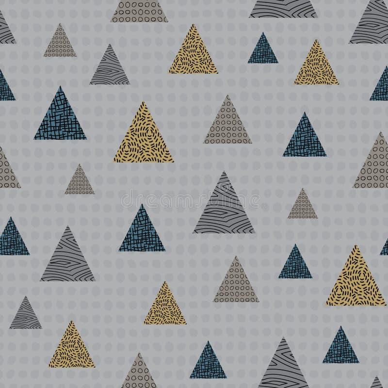 Vector Geometric Green Gold Brown Triangle on Grey Background Nahtlose Wiederholung Muster Hintergrund für Textilien, Karten stock abbildung