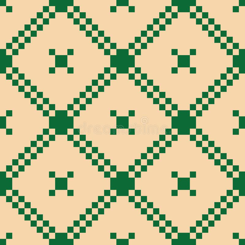 Vector geometric grid ornament. Seamless pattern. Dark green and beige colors stock illustration