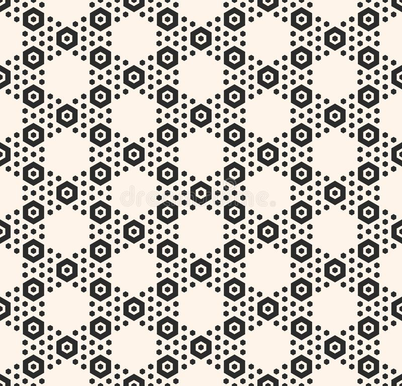 Vector geometric hexagon seamless pattern and white honeycomb texture with small hex shapes royalty free illustration