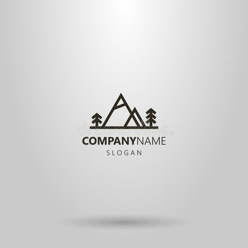 Vector geometric horizontal line art logo of two mountains and coniferous trees next to them stock illustration