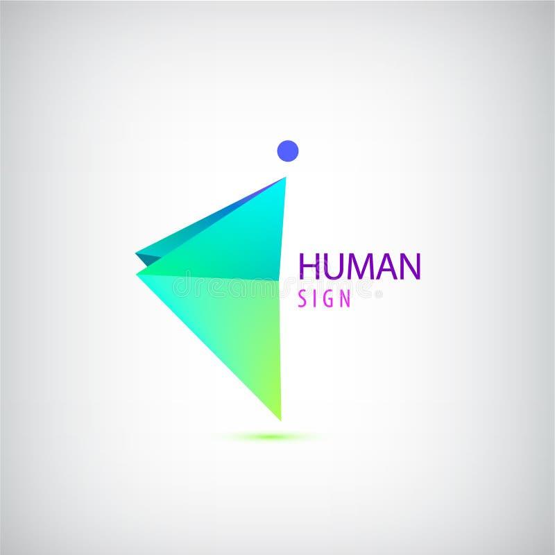 Vector Geometric Origami Man Logo Sign Leader Business Winner