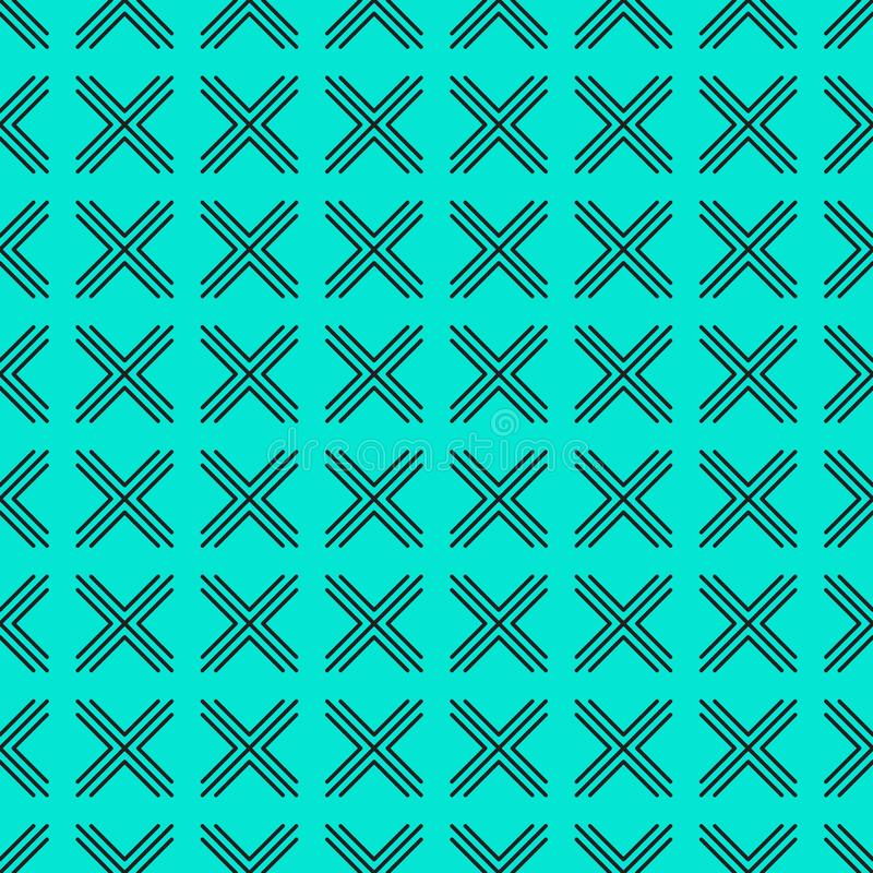 Vector geometric pattern of crosses on a turquoise background. stock illustration