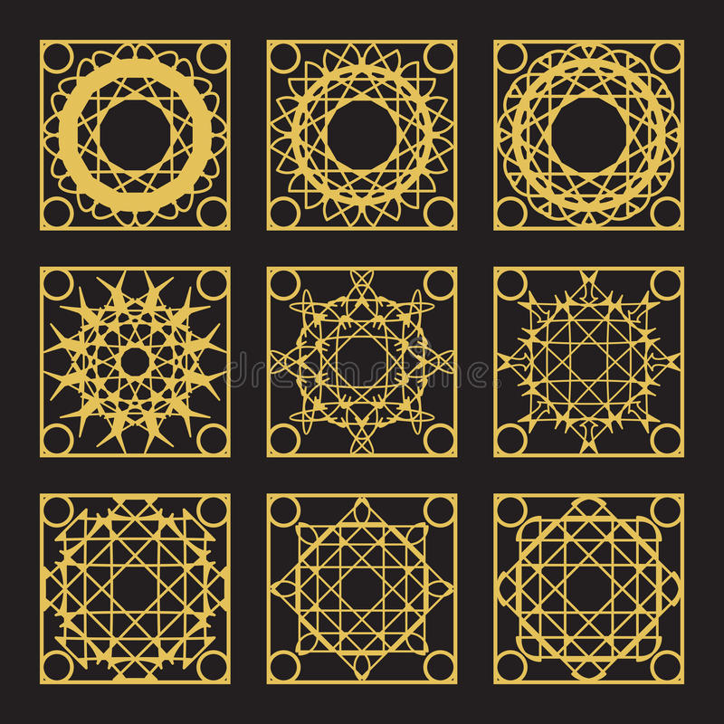 Vector Geometric Pattern. Patterns set with luxury arabic geometric ornaments. Vector collection stock illustration