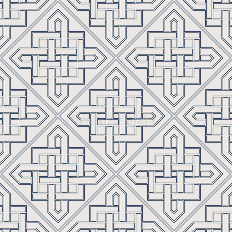 Vector Geometric Pattern. Seamless texture with arabic geometric ornament. Vector lineart pattern stock illustration