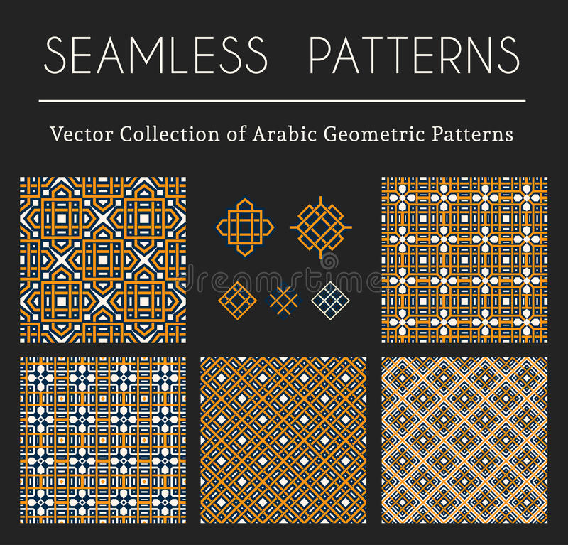 Vector Geometric Patterns. Seamless textures collection with geometric ornaments and symbols. Vector patterns set stock illustration