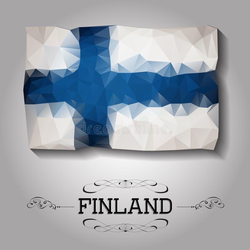Vector geometric polygonal Finland flag. For your design vector illustration