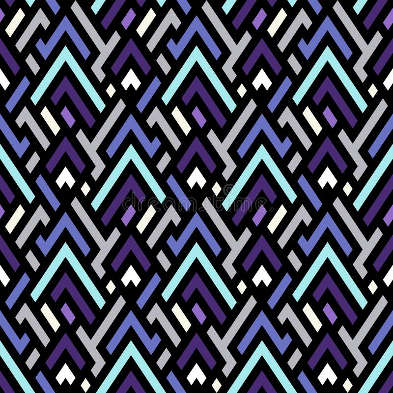 Vector geometric seamless chevron pattern with angles and geometric shapes stock illustration