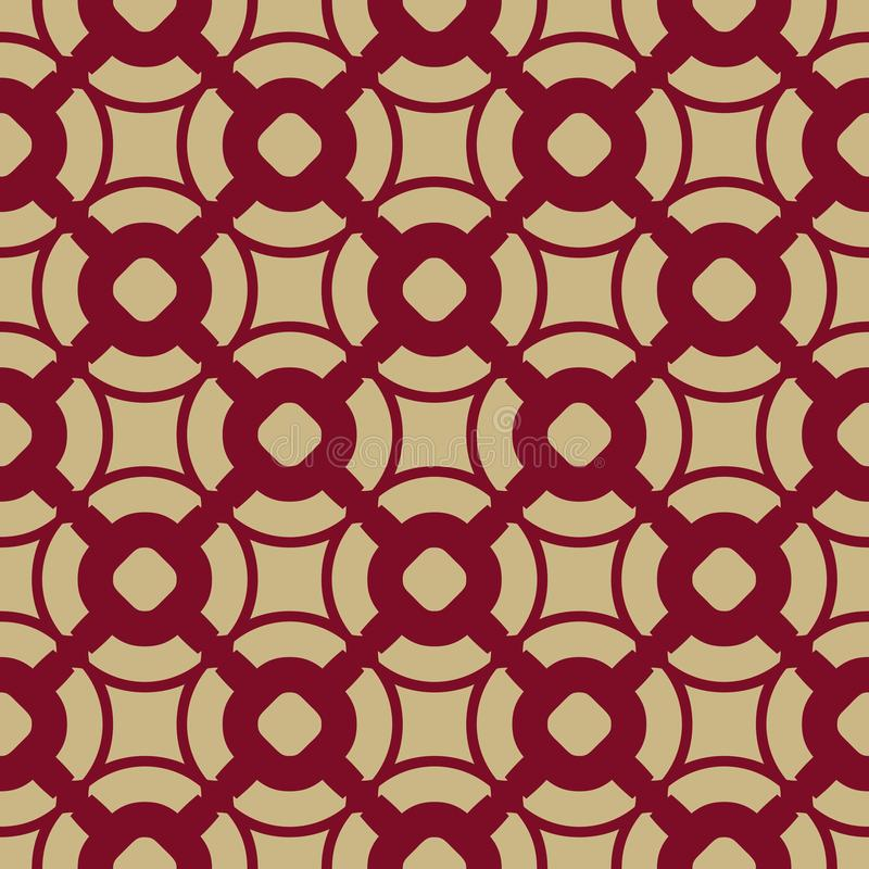 Vector geometric seamless pattern in Asian style. Red and gold traditional Chinese ornament. royalty free illustration