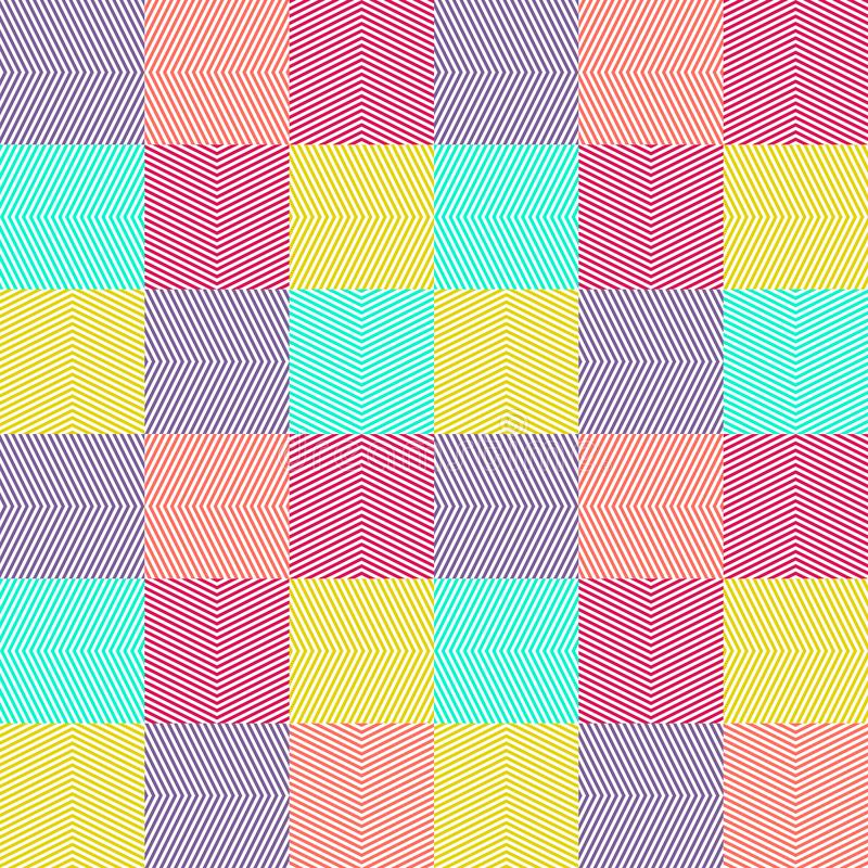 Vector geometric seamless pattern colorful stripes, zigzag, chevron, tiles. Vector geometric lines pattern. Abstract graphic striped ornament. Simple geometrical royalty free illustration
