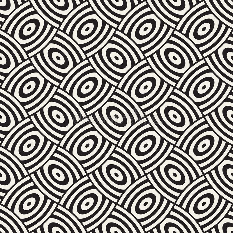 Vector geometric seamless pattern with curved shapes grid. Abstract monochrome rounded lattice texture. Modern textile background vector illustration