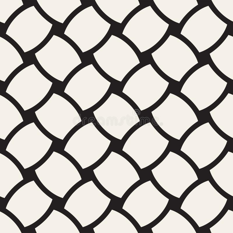 Vector geometric seamless pattern with curved shapes grid. Abstract monochrome rounded lattice texture. Modern textile background stock illustration
