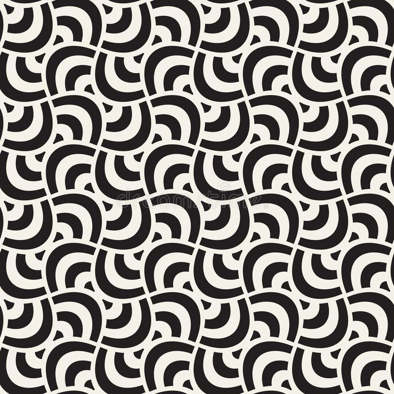 Vector geometric seamless pattern with curved shapes grid. Abstract monochrome rounded lattice texture. Modern textile background royalty free illustration