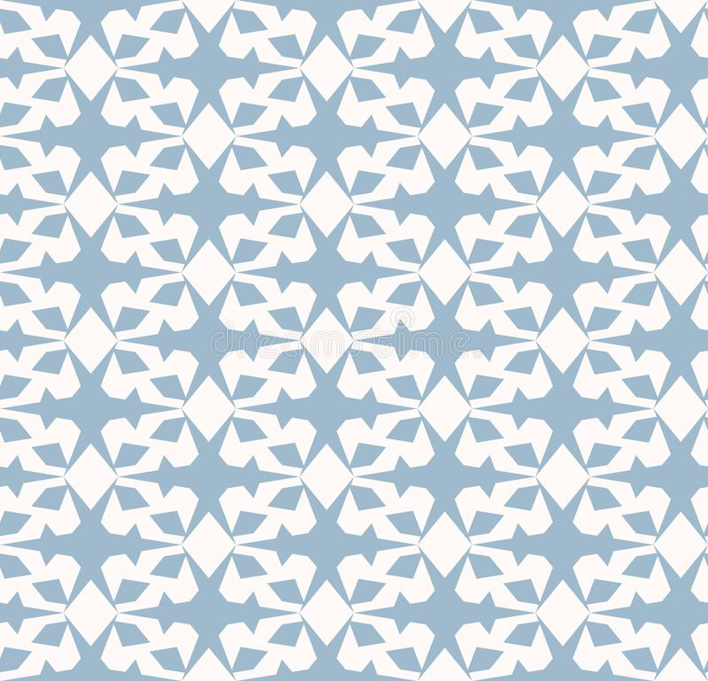 Vector geometric seamless pattern. Elegant ornament in pale blue and white color royalty free illustration