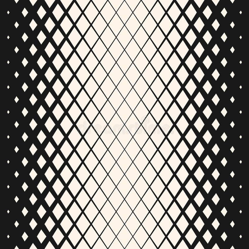 Vector geometric halftone seamless pattern with fading rhombuses. Hipster fashion design. stock illustration