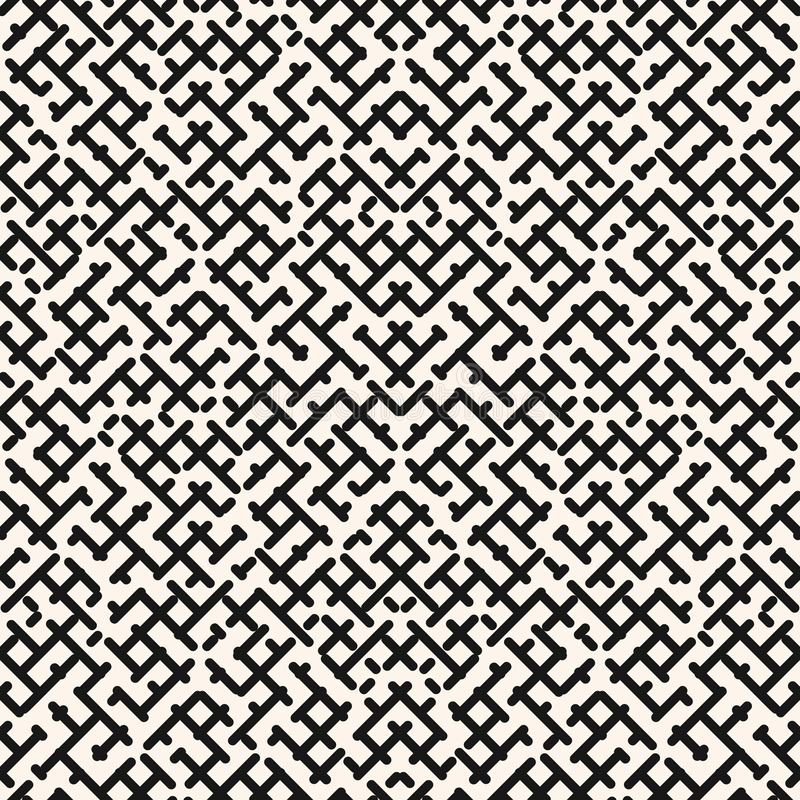 Vector geometric seamless pattern. Modern texture with diagonal lines, maze royalty free illustration
