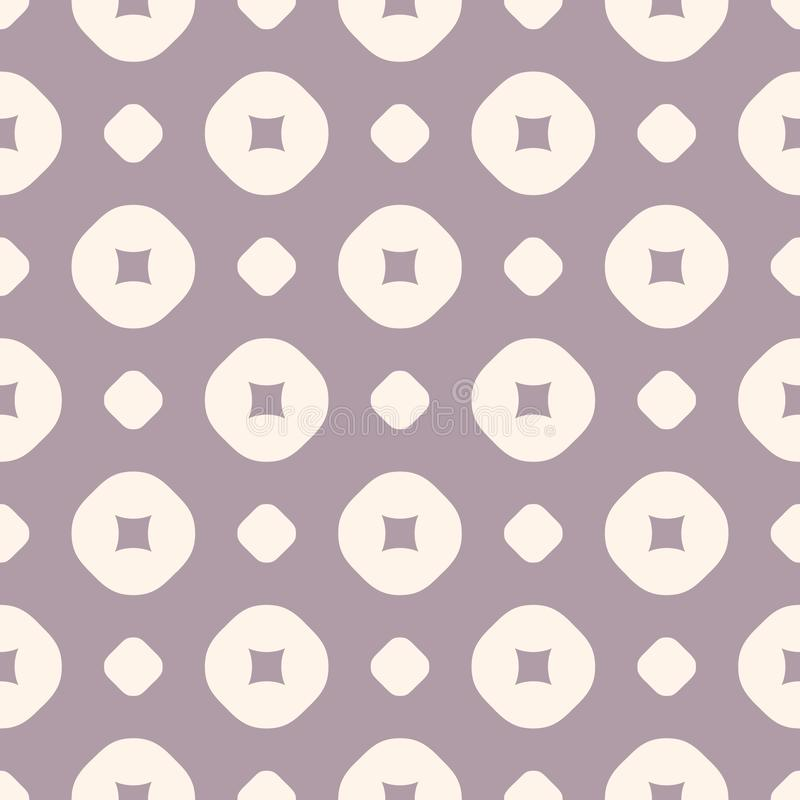 Vector geometric seamless pattern in retro pastel colors, pale purple and beige vector illustration