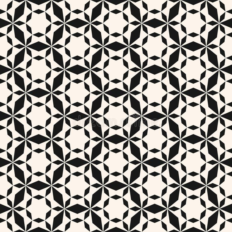 Vector geometric seamless pattern. Simple black and white texture with grid. Vector minimalist geometric seamless pattern. Simple black and white texture with stock illustration