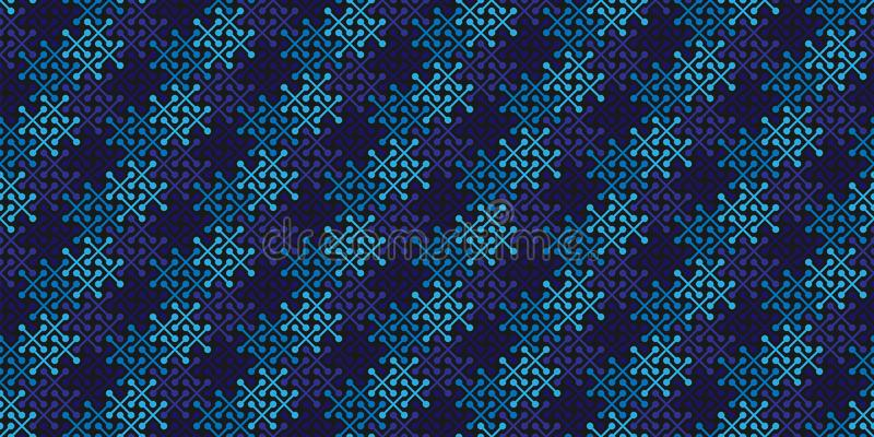 Vector geometric seamless pattern with simple cross shapes silhouettes. Abstract background texture, repeat tiles. Deep blue and skyblue colors. Minimalistic royalty free illustration