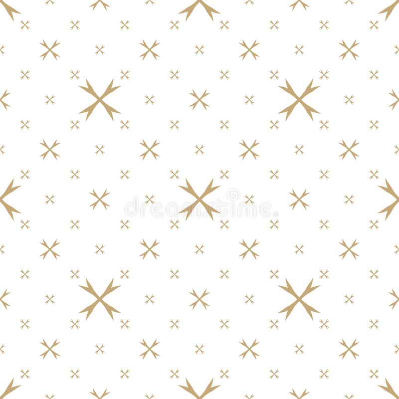 Vector geometric seamless pattern with small flowers. Golden floral texture stock illustration