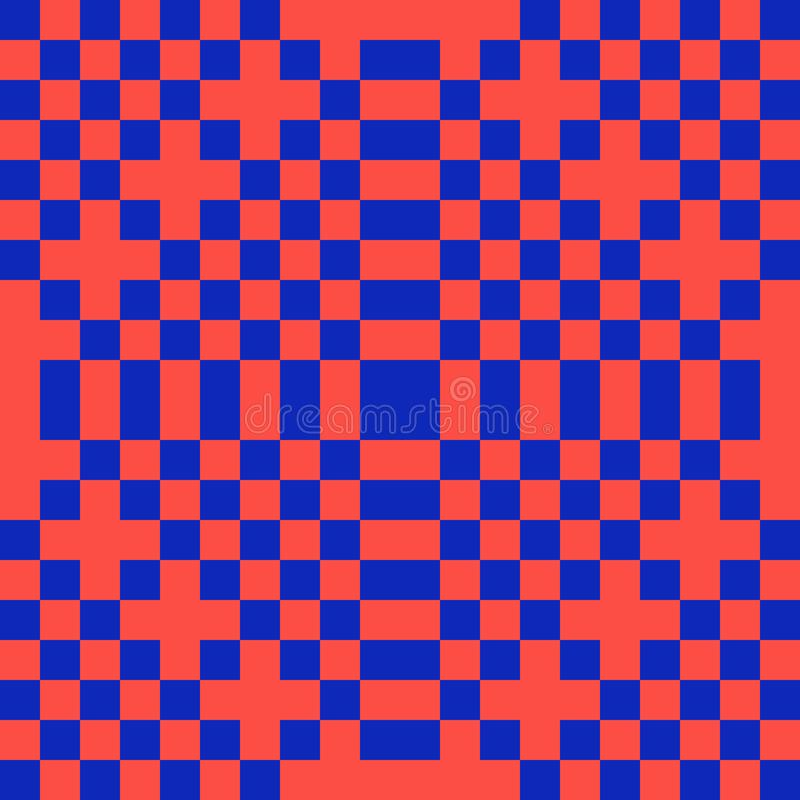 Vector geometric seamless pattern with squares. Red and blue checkered texture stock illustration