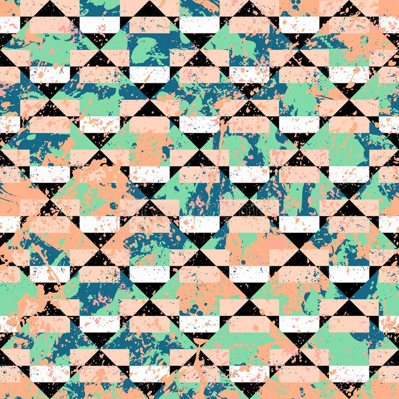 Vector geometric sporty seamless pattern with stripes stock illustration