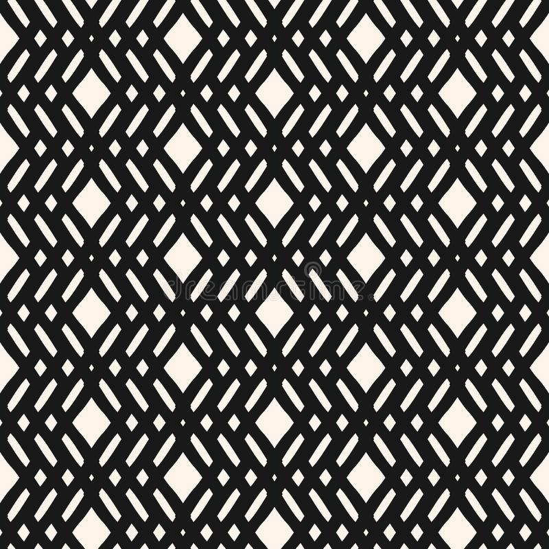 Vector geometric seamless pattern with crossing lines, rhombuses, mesh, lattice. royalty free illustration