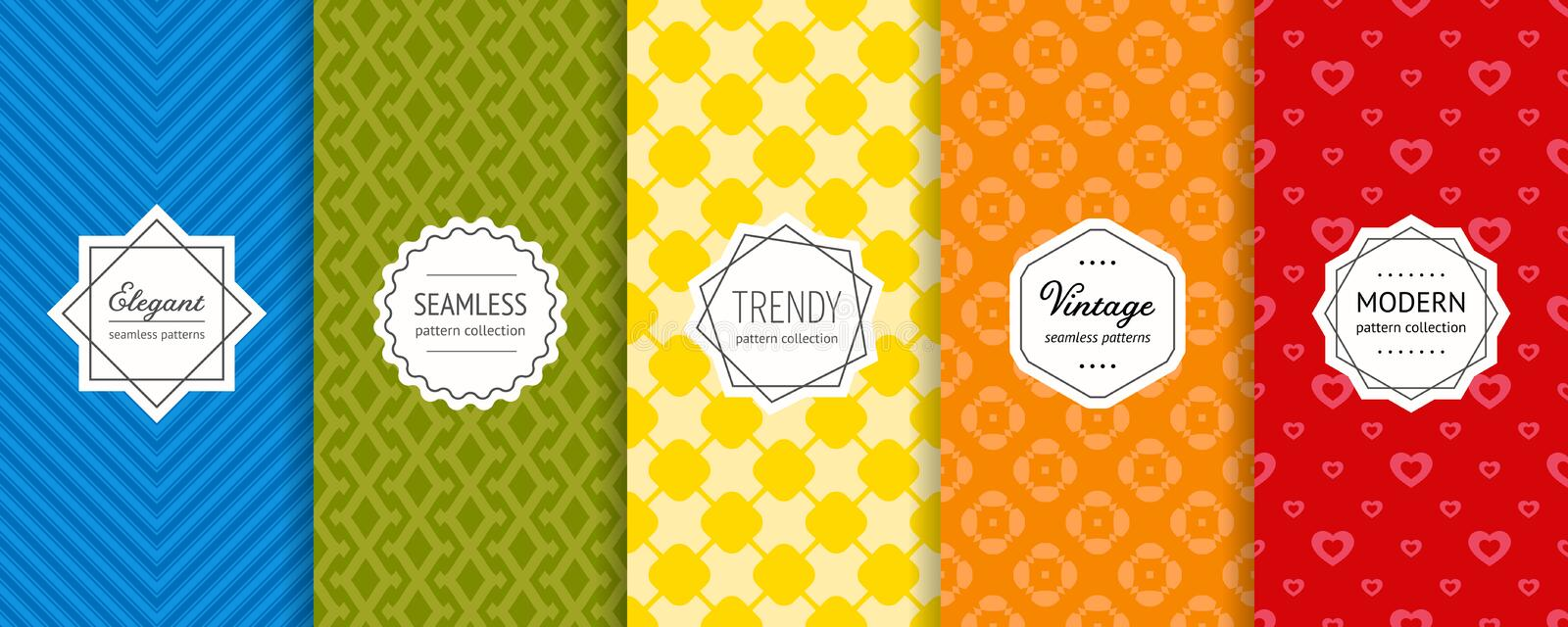 Vector geometric seamless patterns set. Colorful background with stylish labels stock illustration
