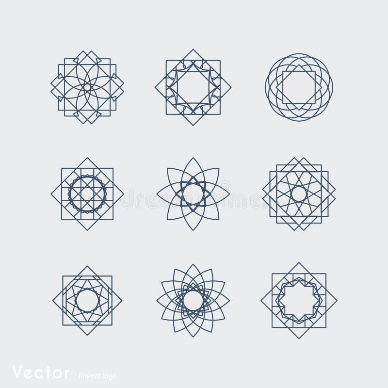 Vector geometric symbols. Linear ornamental symbols set. Vector arabic geometric signs stock illustration