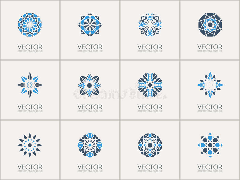 Vector geometric symbols. Geometric logo template set. Vector mosaic arabic ornamental symbols royalty free illustration