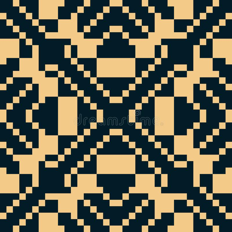Vector geometric traditional folk ornament. Black and yellow seamless pattern royalty free illustration