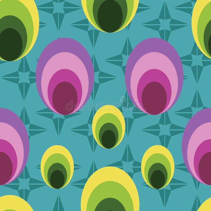 Simple geometrical vector seamless pattern background. In multi-colored lines and circles. Perfect use for wallpaper, fabric, gift-wrap, scrap-booking and many stock illustration