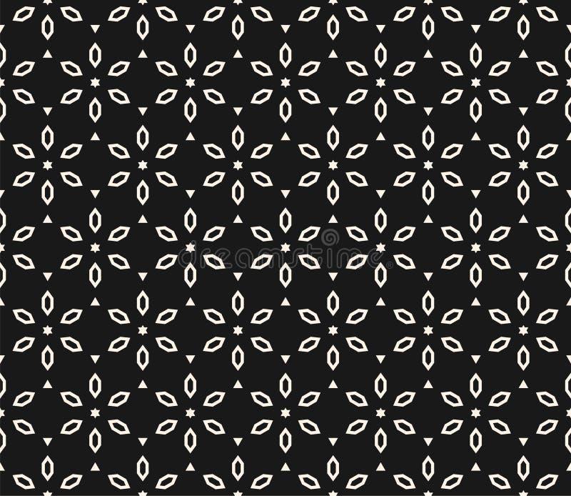 Vector geometrisch bloemenpatroon Zwart-witte naadloze textuur royalty-vrije illustratie