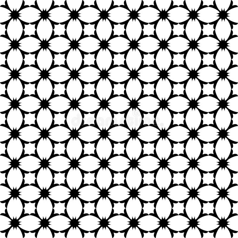 Vector geometrisch bloemenpatroon Zwart-witte naadloze textuur stock illustratie
