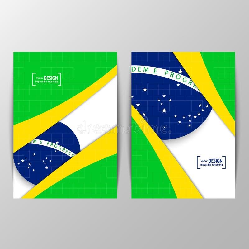Vector geometrisch brochureontwerp in de vlagconcept van Brazilië royalty-vrije illustratie